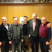 Das Bild zeigt die 3 Erstplatzierten eingerahmt von Kreisrat Otto Schmedding und dem 2. Vorsitzenden Bruno Miltenberger.